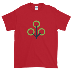 Cherry Red Short Sleeve T-Shirt With Green and Grey Zcash Sapling Logo