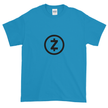 Load image into Gallery viewer, Blue Short Sleeve T Shirt With Black Z-Cash Logo