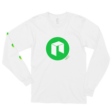 Load image into Gallery viewer, White Long Sleeve Unisex NEO T Shirt With Green NEO Logos On Chest and Right Arm