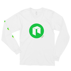 White Long Sleeve Unisex NEO T Shirt With Green NEO Logos On Chest and Right Arm