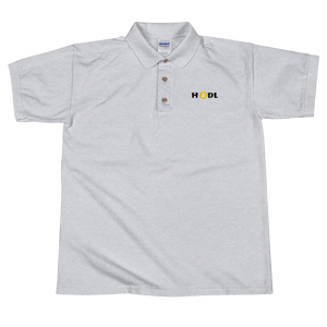 Grey Short Sleeve Polo Shirt With Krypto Threadz Bitcoin HODL Logo
