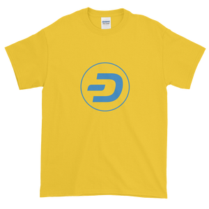 Yellow Short Sleeve T-Shirt With Blue Dash Logo