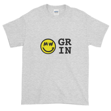 Load image into Gallery viewer, Ash Short Sleeve T-Shirt With Yellow and Black Grin Smiley Face Logo