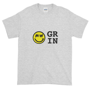 Ash Short Sleeve T-Shirt With Yellow and Black Grin Smiley Face Logo