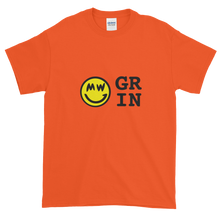 Load image into Gallery viewer, Orange Short Sleeve T-Shirt With Yellow and Black Grin Smiley Face Logo