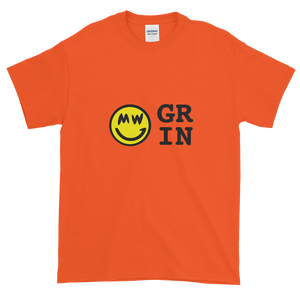 Orange Short Sleeve T-Shirt With Yellow and Black Grin Smiley Face Logo