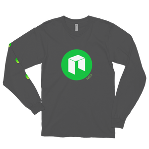 Asphalt Long Sleeve Unisex NEO T Shirt With Green NEO Logos On Chest and Right Arm