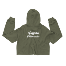 Load image into Gallery viewer, Women's Military Green Crop Top Hoodie With White Krypto Threadz Logo on Back