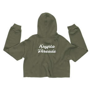 Women's Military Green Crop Top Hoodie With White Krypto Threadz Logo on Back