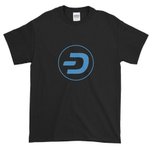 Load image into Gallery viewer, Black Short Sleeve T-Shirt With Blue Dash Logo
