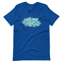 Load image into Gallery viewer, Royal Blue Short Sleeve T-Shirt With Krypto Threadz Graffiti Design