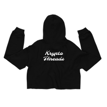 Load image into Gallery viewer, Women's Black Crop Top Hoodie With White Krypto Threadz Logo on Back