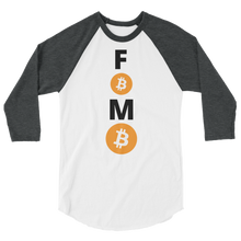 Load image into Gallery viewer, Grey and White 3/4 Sleeve Baseball Style Bitcoin FOMO T Shirt