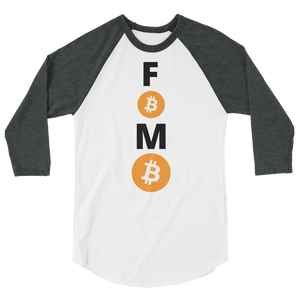 Grey and White 3/4 Sleeve Baseball Style Bitcoin FOMO T Shirt