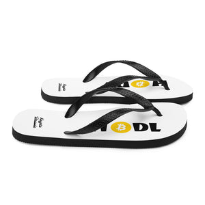 White Soled Flip Flops With Black and Orange Krypto Threadz Bitcoin HODL Logo