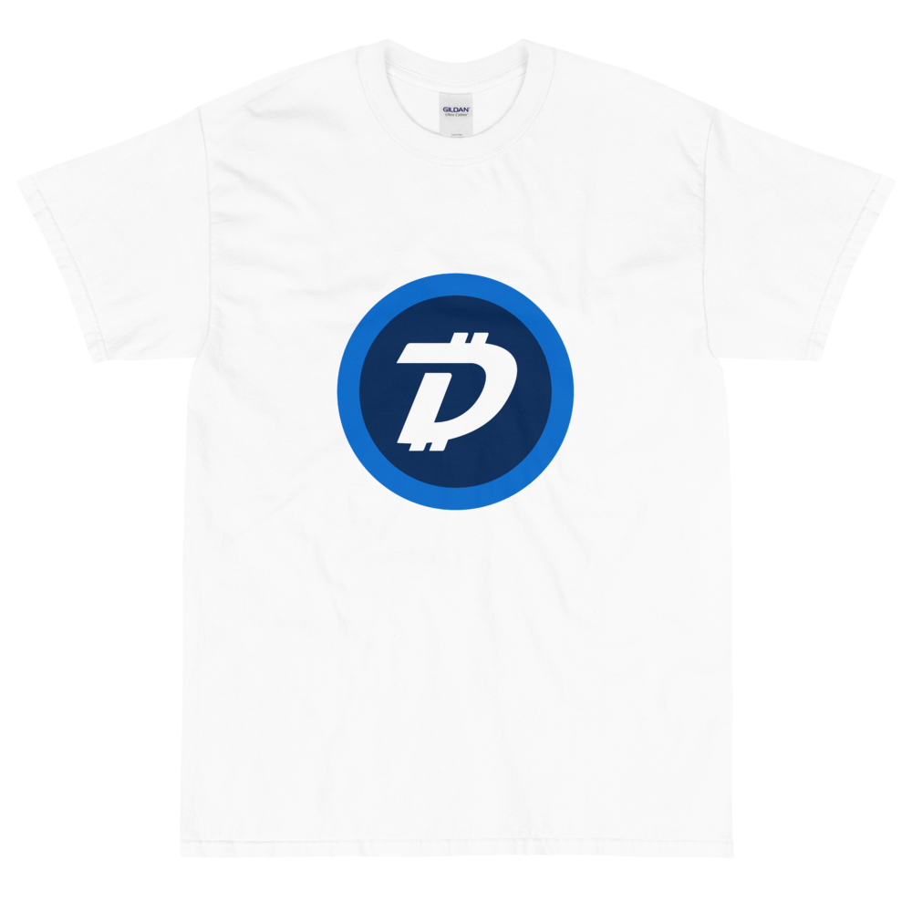 White Short Sleeve T-Shirt With White and Blue DigiByte Logo
