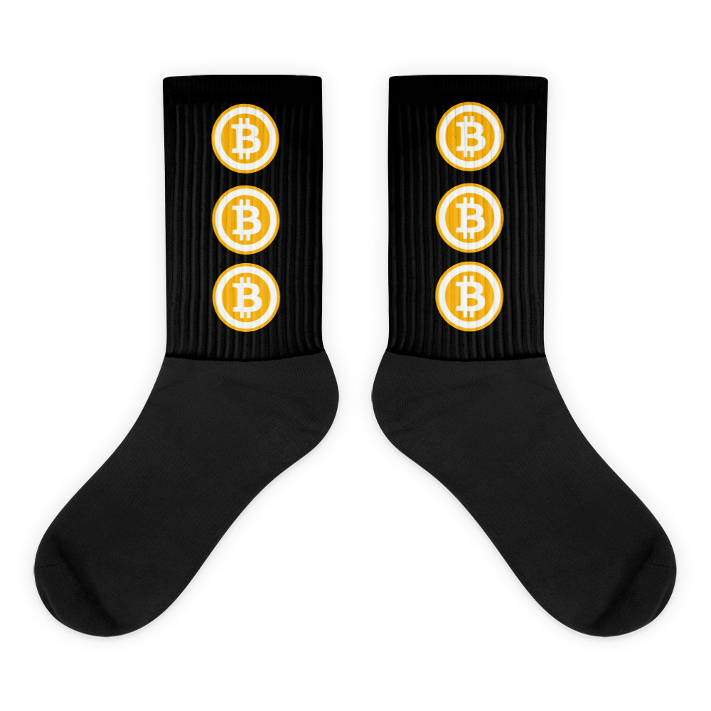 Black Socks With Three Orange and White Bitcoin Logos