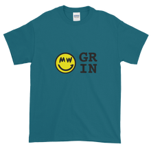 Load image into Gallery viewer, Galapagos Blue Short Sleeve T-Shirt With Yellow and Black Grin Smiley Face Logo
