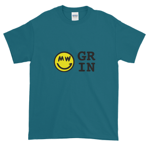 Galapagos Blue Short Sleeve T-Shirt With Yellow and Black Grin Smiley Face Logo