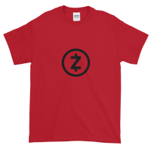 Load image into Gallery viewer, Red Short Sleeve T Shirt With Black Z-Cash Logo