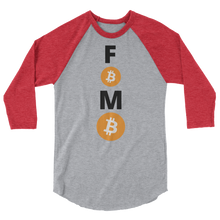 Load image into Gallery viewer, Red and Grey 3/4 Sleeve Baseball Style Bitcoin FOMO T Shirt