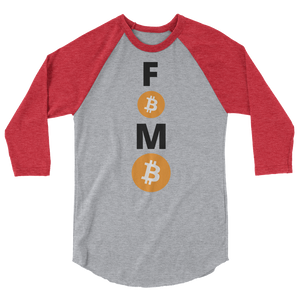 Red and Grey 3/4 Sleeve Baseball Style Bitcoin FOMO T Shirt