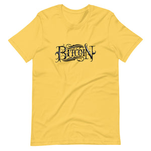 Yellow Short Sleeve T-Shirt With Black Bitcoin Design By Instiller
