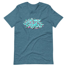 Load image into Gallery viewer, Teal Short Sleeve T-Shirt With Krypto Threadz Graffiti Design