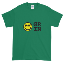 Load image into Gallery viewer, Green Short Sleeve T-Shirt With Yellow and Black Grin Smiley Face Logo