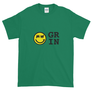 Green Short Sleeve T-Shirt With Yellow and Black Grin Smiley Face Logo