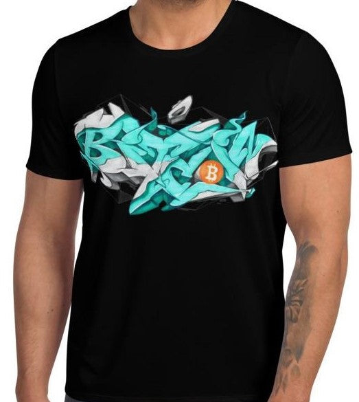 Black Short Sleeve T-Shirt With Bitcoin Design in Graffiti Lettering By Kaser Styles Front View