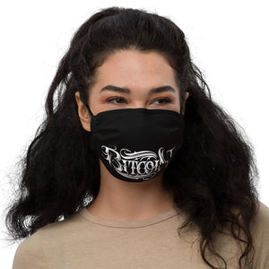 Women With Black Face Mask With White Bitcoin Design Front View