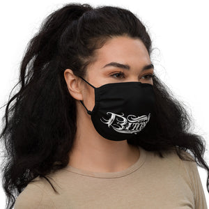 Women With Black Face Mask With White Bitcoin Design Right Side View