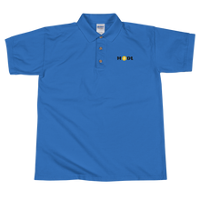 Load image into Gallery viewer, Blue Short Sleeve Polo Shirt With Krypto Threadz Bitcoin HODL Logo