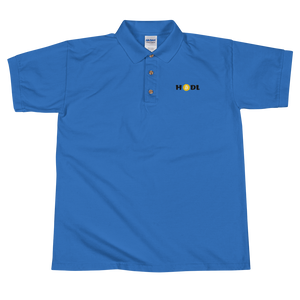 Blue Short Sleeve Polo Shirt With Krypto Threadz Bitcoin HODL Logo
