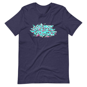 Navy Blue Short Sleeve T-Shirt With Krypto Threadz Graffiti Design