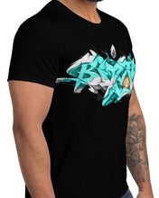 Load image into Gallery viewer, Black Short Sleeve T-Shirt With Bitcoin Design in Graffiti Lettering By Kaser Styles Left View