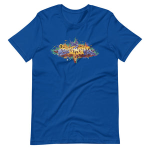 Royal Blue Short Sleeve T-Shirt With Bitcoin Design in Graffiti