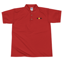 Load image into Gallery viewer, Red Short Sleeve Polo Shirt With Krypto Threadz Bitcoin HODL Logo
