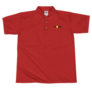 Red Short Sleeve Polo Shirt With Krypto Threadz Bitcoin HODL Logo