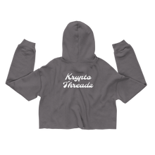 Load image into Gallery viewer, Women's Grey Crop Top Hoodie With White Krypto Threadz Logo on Back