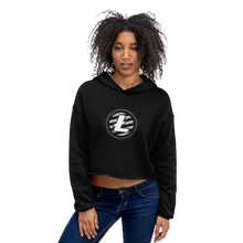 Load image into Gallery viewer, Women's Model Wearing Black Crop Top Hoodie With Grey and White Litecoin Logo on Front