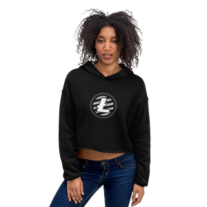 Women's Model Wearing Black Crop Top Hoodie With Grey and White Litecoin Logo on Front