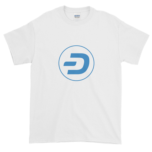 White Short Sleeve T-Shirt With Blue Dash Logo
