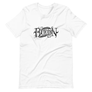 White Short Sleeve T-Shirt With Black Bitcoin design by Instiller