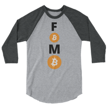 Load image into Gallery viewer, Grey on Grey 3/4 Sleeve Baseball Style Bitcoin FOMO T Shirt