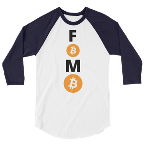 Navy Blue and White 3/4 Sleeve Baseball Style Bitcoin FOMO T Shirt