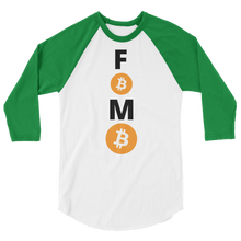 Load image into Gallery viewer, Green and White 3/4 Sleeve Baseball Style Bitcoin FOMO T Shirt