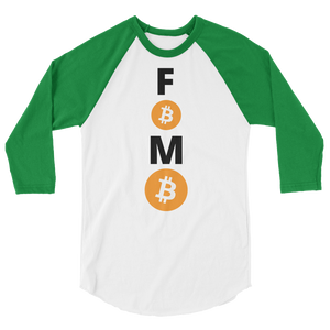 Green and White 3/4 Sleeve Baseball Style Bitcoin FOMO T Shirt
