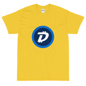 Yellow Short Sleeve T-Shirt With White and Blue DigiByte Logo